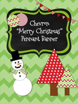 Chevron Merry Christmas *Pennant* Banner