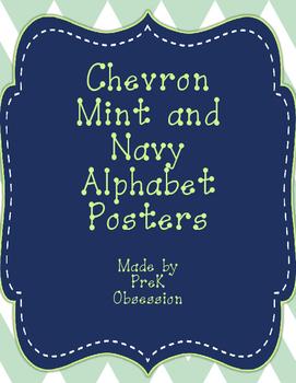 Chevron Mint and Navy Alphabet Posters
