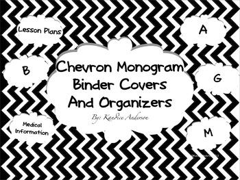Chevron Monogram Binder Covers And Organizers