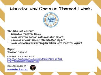Chevron/Monster Themed Labels