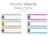 Chevron Monster Themed Name Plates