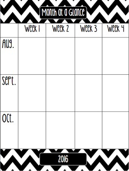 Chevron Month at a Glance Calendar 2016-2017