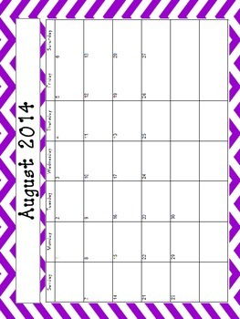 Chevron Monthly Calendar Set with Year at a Glance Sheet