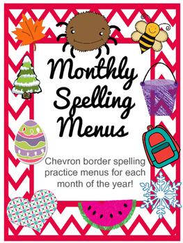 Chevron Monthly Spelling Menus - Spelling Practice Grids