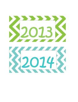 Chevron Months & Days of Week 2013-2014