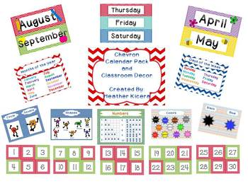 Chevron Months and Classroom Decor Pack