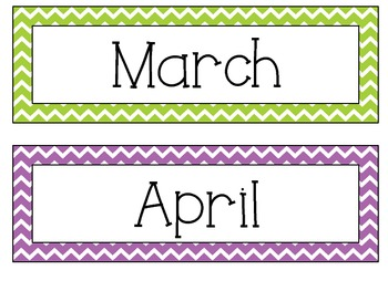 Chevron Months and Pencil Cup Labels