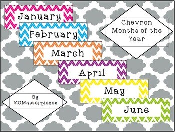 Chevron Months of the Year Signs