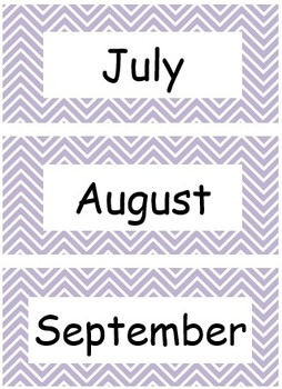 Chevron Months of the Year for Calendars in 10 different colors