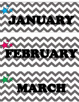 Chevron Months with Rockstar Birthday Chart Details