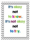 Chevron Motivational Classroom Poster