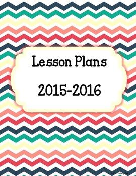 Back to School Chevron Multi Color Lesson Plan Binder Cover **EDITABLE**