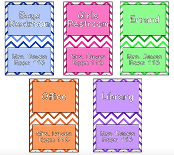 Chevron Multicolor Hall Pass Set