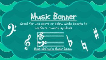 Chevron Music Symbols Banner