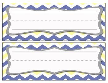 Chevron Name Cards - Blue/Yellow