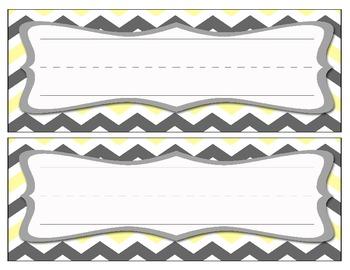 Chevron Name Cards - Gray/Yellow