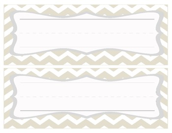 Chevron Name Cards -Tan