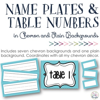 Name Plates, Bin Cards & Table Numbers: Chevron