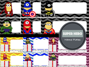 Chevron Name Plates: Minion Super Hero