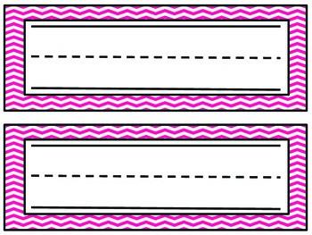 Chevron Name Plates- Pink