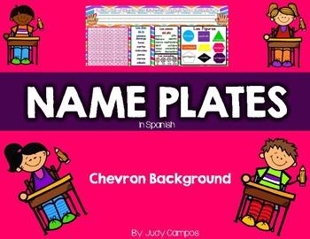 Chevron & White Background Name Plates in Spanish