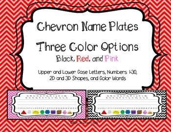 Chevron Name Plates in Three Colors - black, pink, red