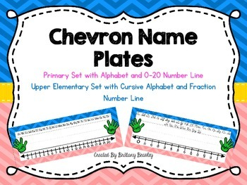 Chevron Name Plates with Alphabet and Number Line