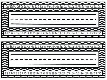 Chevron Name Plates with Cursive Alphabet/Numbers