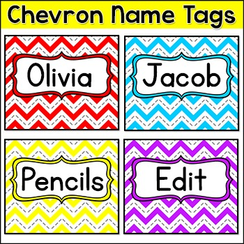 Chevron Name Tags and Labels