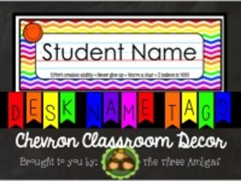 Chevron Name Tags - Rainbow with Motivational Sayings