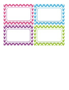 Chevron Name Tags or Locker Tags- Pink, Blue, Purple, and Green