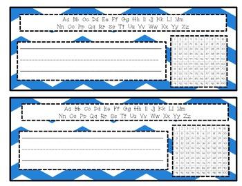 Chevron Name tags- 100s Chart