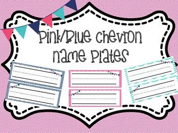 Chevron Nameplates (pink, blue, light green)