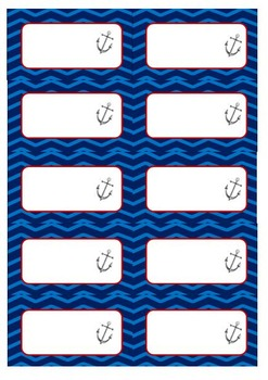 Chevron Nautical Blue/Red Labels