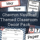 Chevron Nautical Classroom Decor Pack [with editable labels]