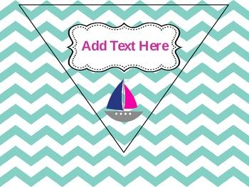 Nautical Classroom Rules -Chevron & Editable (Pennant Banner)
