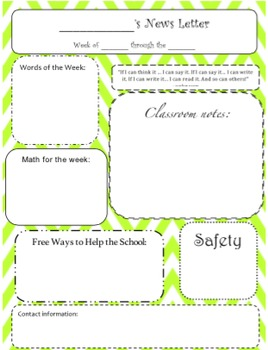 Classroom Newsletters in Chevron