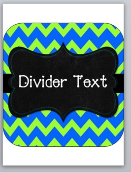 Chevron Notebook Dividers-green and blue