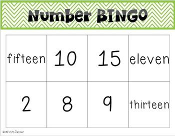 Chevron Number Bingo