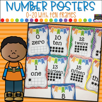 Number Cards 0-20 Numbers,Number Words,Ten Frames-Chevron Theme