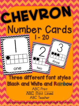 Chevron Number Cards 1 - 20 - Black/White and Rainbow!