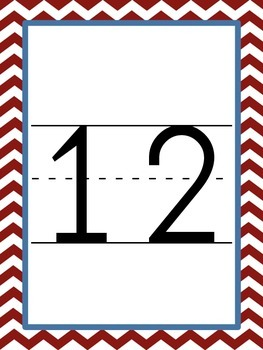 Chevron Number Cards/Posters--Red