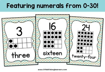 Chevron Number Charts - 0 to 30 - Classroom Decor Posters