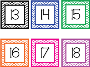 Chevron Number Line Cards