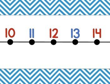 Chevron Number Line {blue}