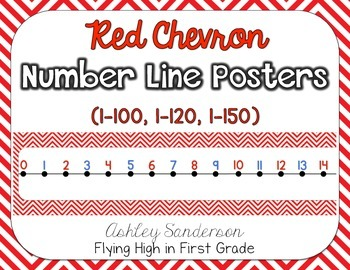 Chevron Number Line {red}