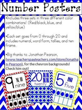 Chevron Number Posters (0-20)