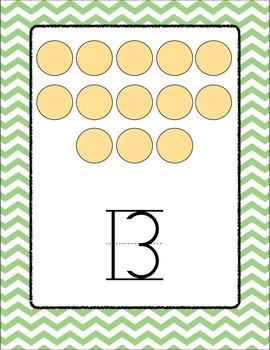 Chevron Number Posters 0 - 20 (Green)