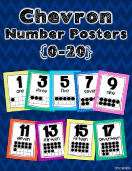 Chevron Number Posters {0-20} with Ten Frame