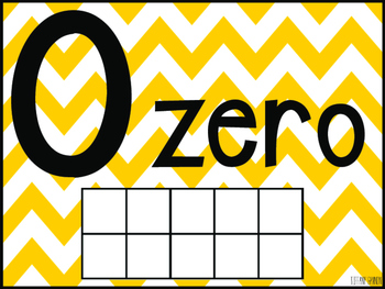 Chevron Number Posters 1-20 {Yellow, Green, Turquoise, and Grey}